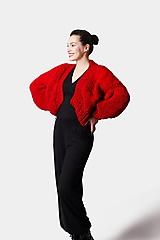 Svetre/Pulóvre - Pletený sveter červeno bordový - 12919606_