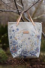 """Kabelky - Veľká ručne maľovaná kabelka z ľanu s koženým remienkom """"BlueFleury"""" - 12919731_"""