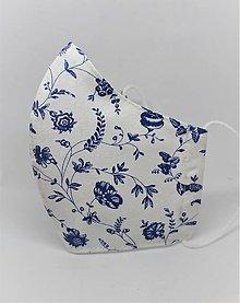 Rúška - Tvarované rúško na tvár  - modré kvety na bielej - 12920341_