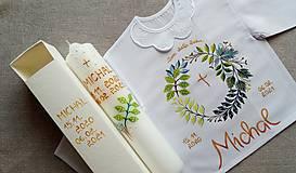 Detské oblečenie - Lístková na krst s hrubou sviecou - 12922598_