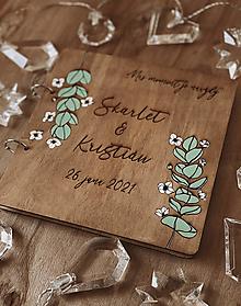 Papiernictvo - Svadobná kniha hostí, drevený fotoalbum - Eukalyptus - 12925479_
