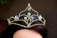 tiara, korunka, čelenka - zlatá + AB