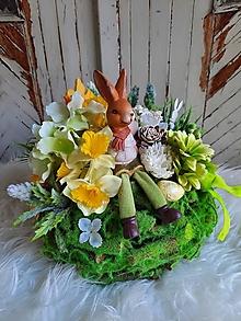 Dekorácie - Jarná dekorácia so zajačikom - 12924603_