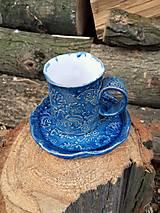 """Nádoby - Espresso šálka s podšálkou """"Kohúty v modrom"""" - 12925841_"""