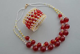 Sady šperkov - Súprava náramok a náhrdelník červené guľôčky - 12924037_