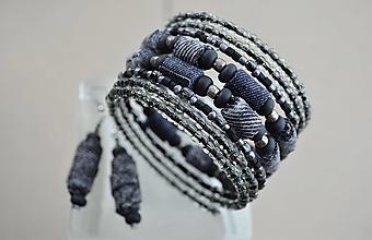 Sady šperkov - Náramok denim black s náušničkami - 12924251_