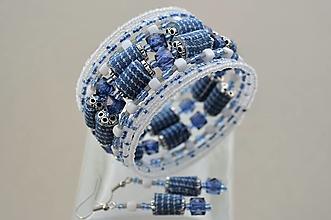 Sady šperkov - Náramok denim cube s náušničkami - 12924548_