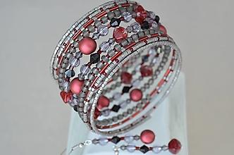 Sady šperkov - Náramok s náušničkami sivo bordový - 12924732_