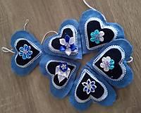 Dekorácie - Modré srdiečka - 12924704_