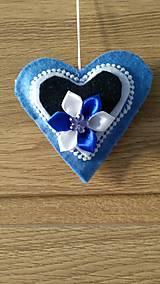 Dekorácie - Modré srdiečka - 12924722_