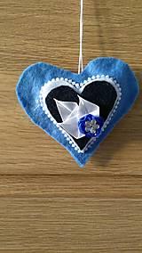 Dekorácie - Modré srdiečka - 12924723_