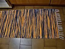 Úžitkový textil - Tkaný koberec čierno-oranžovo-biely - 12924174_