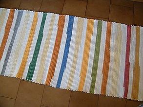 Úžitkový textil - Tkaný koberec bielo-žlto-oranžový pestrofarebný - 12924357_