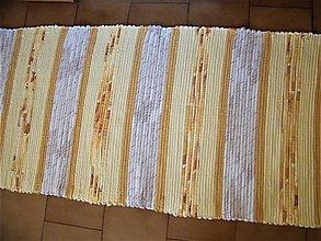 Úžitkový textil - Tkaný koberec hnedo-horčicový - 12924791_