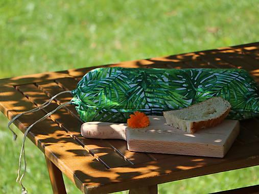 Ľanové vrecko na chlieb tropické listy