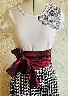 Tričká - Maľované tričko Folkie Lace - biele - 12930148_