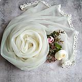 Šály - Něžné ráno - smotanový svadobny šál s čipkou - 12927142_