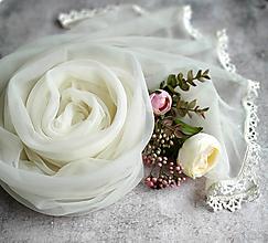 Šály - Něžné ráno | smotanový svadobny šál s čipkou - 12927141_