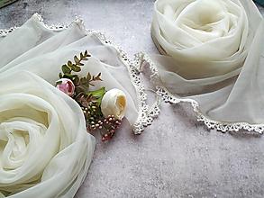 Šály - Něžné ráno - smotanový svadobny set šálů - 12927160_