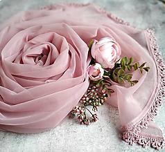 Šály - Růžový prach - starorůžový šál s čipkou - 12929778_