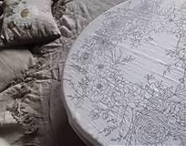 """Úžitkový textil - Maľovaný ľanový obrus """"Kvetinový veniec"""" - 12926322_"""