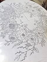 """Úžitkový textil - Maľovaný ľanový obrus """"Kvetinový veniec"""" - 12926329_"""