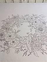 """Úžitkový textil - Maľovaný ľanový obrus """"Kvetinový veniec"""" - 12926341_"""