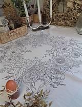 """Úžitkový textil - Maľovaný ľanový obrus """"Kvetinový veniec"""" - 12926343_"""