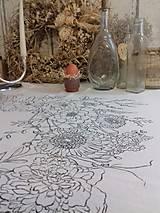"""Úžitkový textil - Maľovaný ľanový obrus """"Kvetinový veniec"""" - 12926356_"""