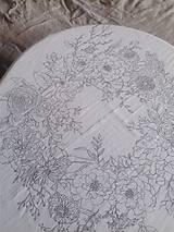 """Úžitkový textil - Maľovaný ľanový obrus """"Kvetinový veniec"""" - 12926359_"""