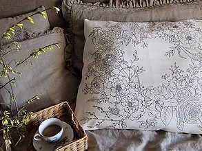 """Úžitkový textil - Maľovaný ľanový vankúš """"Kvetinový veniec"""" - 12926590_"""