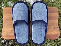 Obuv - Riflové papuče s tmavomodrým lemom - 12926357_