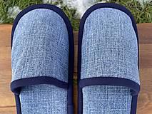 Obuv - Riflové papuče s tmavomodrým lemom - 12926358_