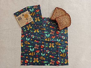 Úžitkový textil - Obrúsok s včelím voskom - včielka na lúke tmavá - 12927611_