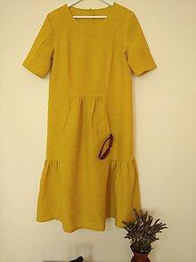 Šaty - Ľanové šaty v horčicovom prevedení - 12929802_