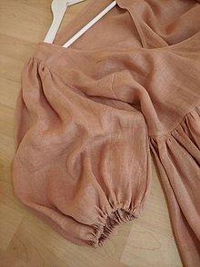 Šaty - ľanové šaty v púdrovej farbe - 12929931_