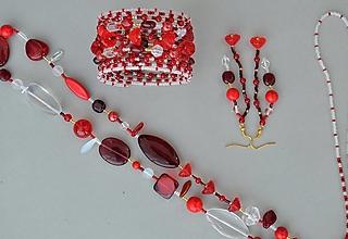 Sady šperkov - Súprava červené ružičky - 12928639_