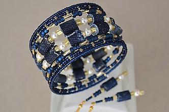 Sady šperkov - Náramok denim & pearls s náušničkami - 12929040_