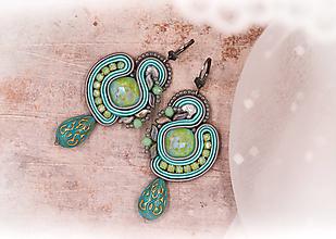 Náušnice - Šujtášové mentolové náušnice /soutache earrings - 12928188_