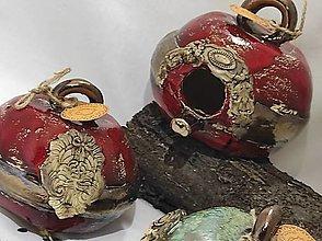 Socha - Vtáčia búdka guľatá (12x14cm - Červená) - 12929551_