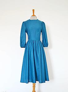 Šaty - Bavlnené šaty s riasenou sukňou - 12929359_