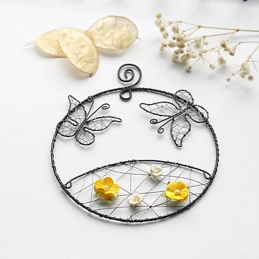Dekorácie - rozkvitnutá lúka s motýlikmi - 12930900_