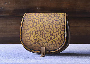 Kabelky - kabelka kožená lovecká /saddle bag ARTEMIS, vzor Folk, hnedý antique - 12930678_