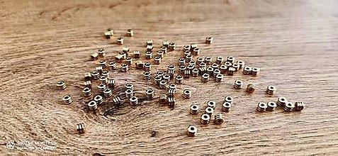 Korálky - Korálka kovová - valček - 4 mm (Zlatá) - 12933364_