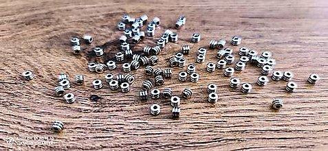 Korálky - Korálka kovová - valček - 4 mm (Strieborná) - 12933366_