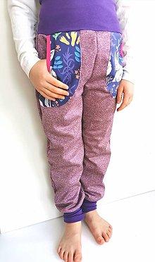 """Detské oblečenie - Softshellové nohavice """"purple&rabbit""""  (122, dl: 80cm) - 12935423_"""