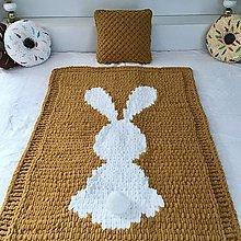 """Textil - zajko """" Biely chvostík """"  : horčicová deka 143cm-95cm :z Alize Puffy - 12931819_"""