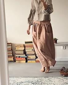 Sukne - Dámska ľanová sukňa na gombíky - dĺžka na mieru - 12932931_