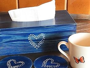 Krabičky - Krabička na kapesníky rustic modrá - 12934229_