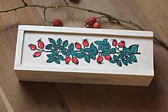 Krabičky - Drevená ručne maľovaná krabička na hodinky ŠÍPKY - 12932564_